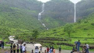 Pandavkada waterfalls and its surroundings are a restricted area, as there is no adequate infrastructure to ensure safety of tourists.(Bachchan Kumar/ HT file photo)