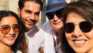 Rishi Kapoor and Neetu Singh met Rajkummar Rao and his girlfriend Patralekhaa in New York.(Twitter)