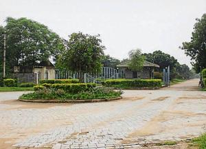 The forest department on Friday served Gurgaon's Golden Greens Golf Club (near Sakatpur village) with a notice asking it to remove illegal constructions from mushtil nos 49 and 55, which show that the club is occupying about 25 to 30 acres of protected forest land, in Gurugram, on Sunday, 04 August 2019.((Photo by Yogendra Kumar/Hindustan Times))