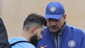 File image of India skipper Virat Kohli and Ravi Shastri (R).(AP)