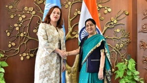 """""""Saddened by the news of the passing of @SushmaSwaraj, an extraordinary woman & leader who devoted her life to public service,"""" Espinosa, who is on a visit to Britain, tweeted on Tuesday.(HT Photo)"""