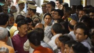 A host of Union ministers and other senior party leaders visited AIIMS and met the bereaved family of the former external affairs minister.(Sanchit Khanna/HT PHOTO.)