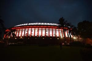 Parliament building illuminated as the 73rd Independence Day approaches, in New Delhi, India on Tuesday.