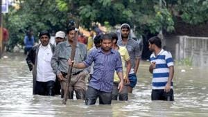 According to an official release, around 74,000 people are affected by the floods in river Godavari in 280 villages of East and West Godavari districts.(AFP PHOTO.)