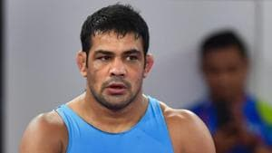 Sushil Kumar after losing the qualification round in the men's freestyle wrestling (74kg) at the Asian Games 2018.(PTI)