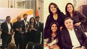 Rishi Kapoor and Neetu Singh at the launch of Anupam Kher's autobiography.