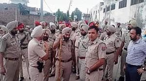 Police after the firing in which six nihangs had received bullet injuries at Mehta Chowk in Amritsar on August 2.(HT File)