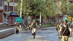 Curfew-like restrictions were imposed across Kashmir on Sunday night, hours before Union home minister Amit Shah first announced the momentous decision on J&K in the Rajya Sabha.(HT FILE)