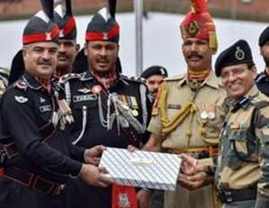 Uncertainty prevailed over exchange of sweets between Border Security Force (BSF) and Pakistan Rangers at Attari-Wagah border on the occasion of Eid-al-Adah on Monday.(PTI photo)