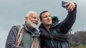 Prime Minister Narendra Modi on Monday tweeted about the Man vs Wild show to be aired on Discovery on Monday.(Bear Grylls/Twitter)