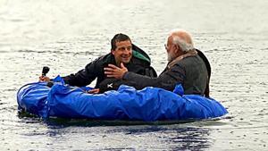 PM Modi and the show Man vs Wild's host Bear Grylls.(HT FIle photo)
