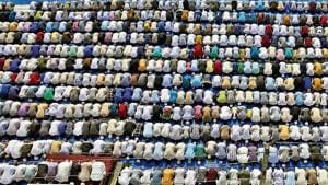 Eid-ul-Azha was celebrated in the Braj region amid tight security as it coincided with the last Monday of 'Sawan' month, observed by Hindus.(Reuters photo)