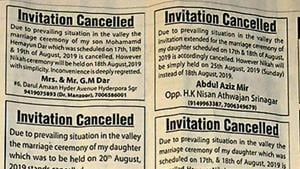 A section of the Greater Kashmir newspaper shows announcements by families about the cancellation of the wedding functions of their family members owing to the prevailing conditions in the valley, in Srinagar, India, on Sunday, August 11, 2019.((Photo by Waseem Andrabi / Hindustan Times))
