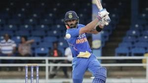 India captain Virat Kohli bats against West Indies during their third One-Day International cricket match in Port of Spain, Trinidad, Wednesday, Aug. 14, 2019.(AP)