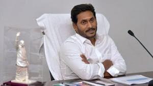 Andhra Pradesh chief minister YS Jagan Mohan Reddy at his office in Vijayawada.(PTI PHOTO.)