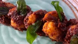 In prawn ghee roast onions and a mix of dry spices are individually slow roasted