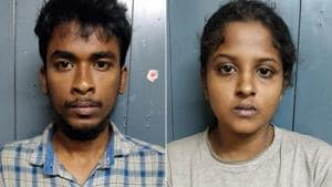 A college student and her tattooist boyfriend were arrested late on Wednesday on charges of snatching cell phones and lifting bikes to buy cannabis and liquor.(HT Photo)