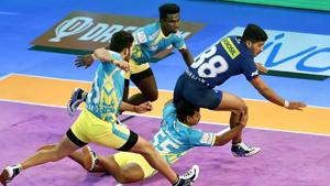 Players of Tamil Thalaivas in action in the PKL.(PTI)