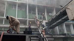 The fire reportedly broke out near the emergency ward of the hospital and patients and staff from one building have been evacuated.(HT PHOTO.)