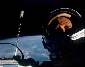 Buzz Aldrin takes a selfie in orbit, during extra-vehicular space activity, in 1966.(Wikimedia Commons)