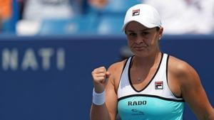 Aug 16, 2019; Mason, OH, USA; Ashleigh Barty (AUS) reacts to defeating Maria Sakkari (GRE) during the Western and Southern Open tennis tournament at Lindner Family Tennis Center.(USA TODAY Sports)