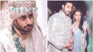 Abhishek Bachchan at his wedding and sangeet with wife Aishwarya Rai in 2007.