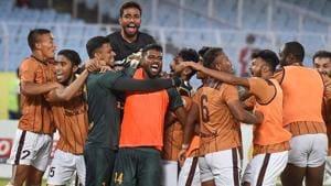 Gokulam Kerala footballers celebrate with their goalkeeper C.K.Ubaid after their win against East Bengal.(PTI)