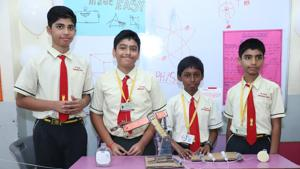 GS Shetty International School in Nahur recently organised a science exhibition.(HT PHOTO)