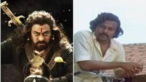 Chiranjeevi seen in a still from Sye Raa Narasimha Reddy (left) and in director Bapu's Mana Voori Pandavulu (left).