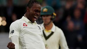 England's Jofra Archer celebrates taking the wicket of Australia's Nathan Lyon.(Action Images via Reuters)