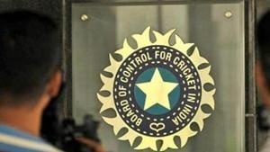 File image: A view of logo of the Board of Control for Cricket in India (BCCI)(Hindustan Times via Getty Images)