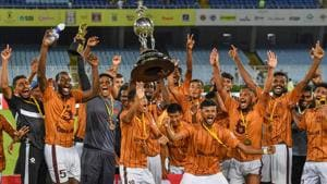 Gokulam Keala FC players celebrate after their win in the final match against Mohun Bagan during Durand Cup final match.(PTI)