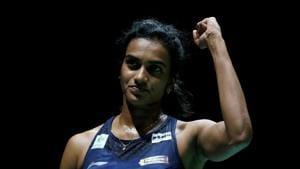 Pusarla Sindhu celebrates winning her semi final women's singles match against China's Chen Yu Fei.(REUTERS)