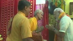 Prime Minister Narendra Modi on Sunday launched the USD 4.2 million redevelopment project of the 200-year-old Lord Sri Krishna temple in the Bahraini capital.(ANI/Twitter)