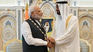 Prime Minister Narendra Modi and the Crown Prince of Abu Dhabi Sheikh Mohammed Bin Zayed Al Nahyan at Presidential Palace in Abu Dhabi, United Arab Emirates.(ANI Photo)