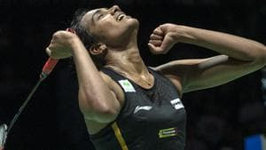 PV Sindhu cheers after winning her women's singles final match against Japan's Nozomi Okuhara.(AP)