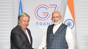 Prime Minister Narendra Modi met Guterres on the sidelines of the G-7 Summit being held in this picturesque southwestern seaside French town.(PMOIndia/Twitter)