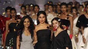 Kareena Kapoor Khan completed the look with bold black lip colour in an emphasis Lakme's theme this season #FreeYourLips focused at freedom of expression.(AP)