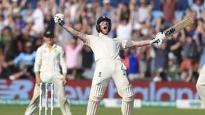 England's Ben Stokes celebrates winning on day four of the third Ashes Test match against Australia.(AP)