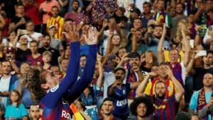 Barcelona's Antoine Griezmann celebrates scoring their second goal.(REUTERS)