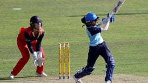 Jemimah Rodrigues of Yorkshire Diamonds hits the winning runs.(Getty Images)