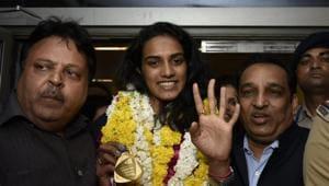 PV Sindhu arrives in Delhi(Vipin Kumar/HT Photo)