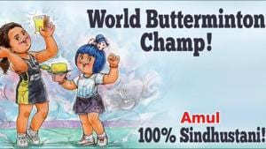 """""""She's the first Indian to win the BWF World Championships!"""" says their tweet.(Twitter/@Amul_Coop)"""