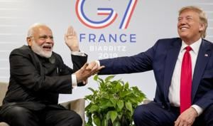At G7, Trump seemed to accept that India and Pakistan could sort out their differences themselves. Foreign secretary Vijay Gokhale, who briefed the media after the conclusion of talks, said that Modi and Trump focused on trade- and energy-related issues, but did not discuss Kashmir(AP)