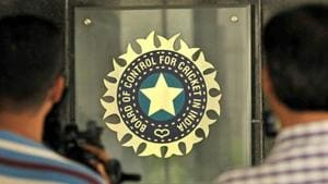 A general view of the BCCI logo(Hindustan Times via Getty Images)
