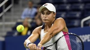 Aug 28, 2019; Flushing, NY, USA; Ashleigh Barty of Australia hits to Lauren Davis of the United States in the second round on day three of the 2019 U.S. Open tennis tournament at USTA Billie Jean King National Tennis Center.(USA TODAY Sports)