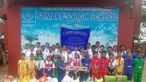 The students of St Mary's High School, Dahisar (East) at the event.(HT)