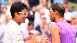 Rafael Nadal of Spain (right) greets Hyeon Chung of Korea(USA TODAY Sports/ Reuters)