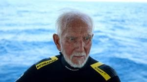 Ray Woolley, diver and World War Two veteran, is seen before breaking a new diving record as he turns 96 by taking the plunge at the Zenobia, a cargo ship wreck off the Cypriot town of Larnaca.(REUTERS)