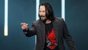 Actor Keanu Reeves of the Cyberpunk 2077 video game launch.(Bloomberg)